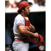Johnny Bench - Holding catchers mask Sports Photo