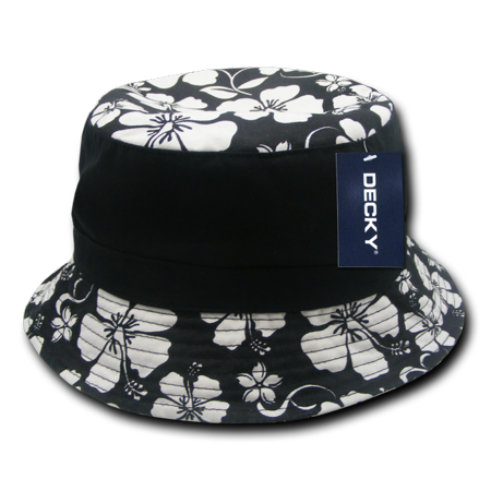 Decky Floral Polo Unconstructed Bucket Hat Hats For Men Women Black ()