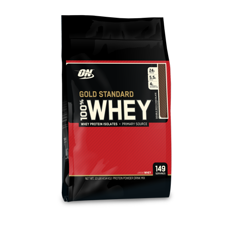 Optimum Nutrition Gold Standard 100% Whey Protein Powder, Double Rich Chocolate, 24g Protein, 10 Lb