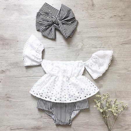 3PCS Newborn Toddler Baby Girls Lace Off-Shoulder Tops+Striped Shorts Outfits Summer Clothes Set