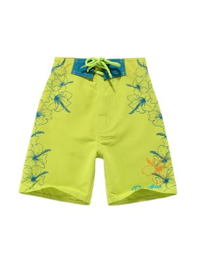 Boy Hawaiian Swimwear Board Shorts with Tie in Lime Green with Blue Floral 6 Year Old