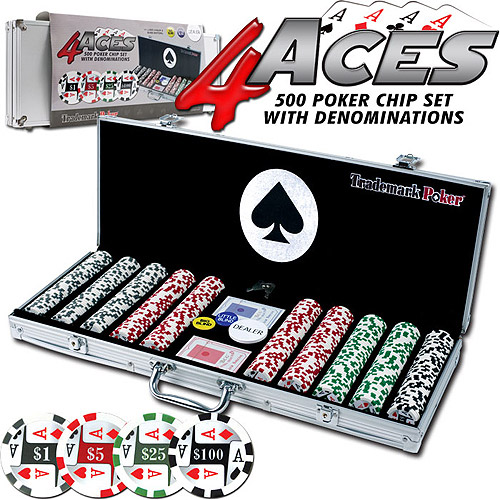 Trademark Poker 4 Aces 500pc 11.5g Poker Chip Set with Aluminum Case 10-1003-500SET