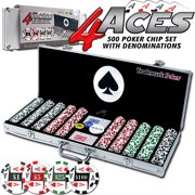 Trademark Poker 4 Aces 500pc 11.5g Poker Chip Set with Aluminum Case