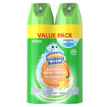 Scrubbing Bubbles Disinfectant Bathroom Grime Fighter Aerosol, Citrus, 20 oz, 2 ct Meyers Shower Cleaner