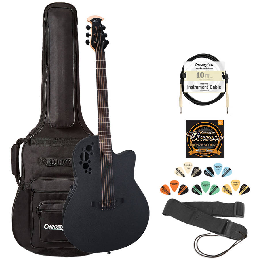 Ovation Elite 1778TX-5 Acoustic-Electric Guitar (Black) with ChromaCast Gig Bag and Accessories by