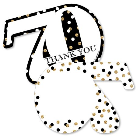 Adult 70th Birthday - Gold - Shaped Thank You Cards - Birthday Party Thank You Note Cards with Envelopes - Set of 12](1st Birthday Thank You Cards)