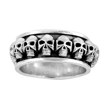 Stainless Steel Spinning Skull Ring (Available in Sizes 10 to 14) size (Steel Spinning Ring)