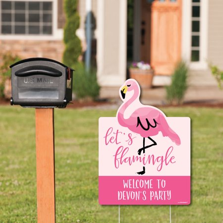 Pink Flamingo - Party Decorations - Tropical Summer Welcome Yard Sign