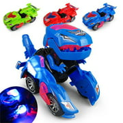 Transforming Dinosaur Led Car, Dinosaur Transformer Car Toy Car Transforms Into Dinosaur with LED Light and Music, Transformer Toys Great Gifts for 3-12 Year Old Boys Girls