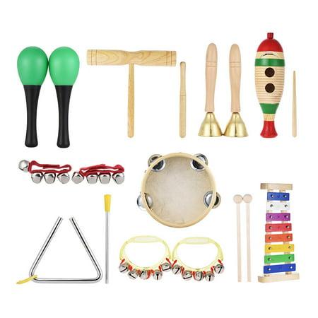 9pcs Musical Instruments Percussion Toy Rhythm Band Set Glockenspiel Tambourine Maracas Double-barrelled Cylinder for Kids Children (Best Latin Percussion Maracas)