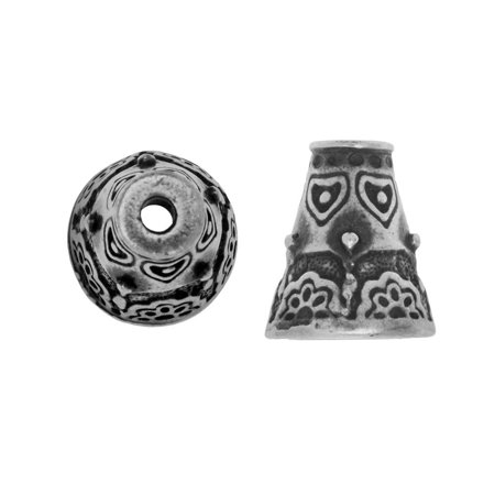 TierraCast Pewter, Beading Cone / Strand Reducer with Floral Pattern 12.5x11mm, 2 Pieces, Antiqued Pewter