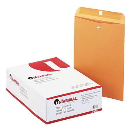 UNIVERSAL UNV35267 Envelope, 10 x 13, Clasp, Brown, PK 100