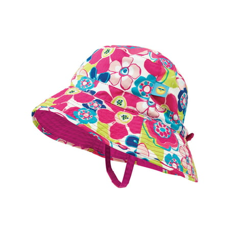 Sun Smarties Pink and Blue Adjustable and Reversible Baby Girl Sun Hat - Floral Design Reverses to a Solid Raspberry Pink Brim Hat  - UPF 50+