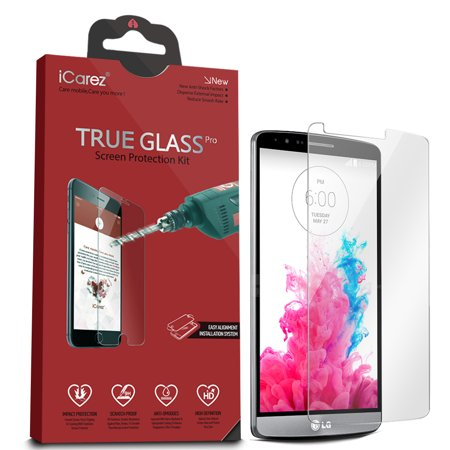 iCarez [Tempered Glass] Screen Protector for LG G3 Easy Install with Lifetime Replacement Warranty [1-Pack,0.3mm 2.5D 9H] - Retail Packaging (Lg G3 Replacement Screen Gold)