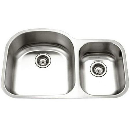 - 18 Gauge Eston Series Undermount Stainless Steel 70 - 30 Double Bowl Kitchen Sink, Small Bowl Right
