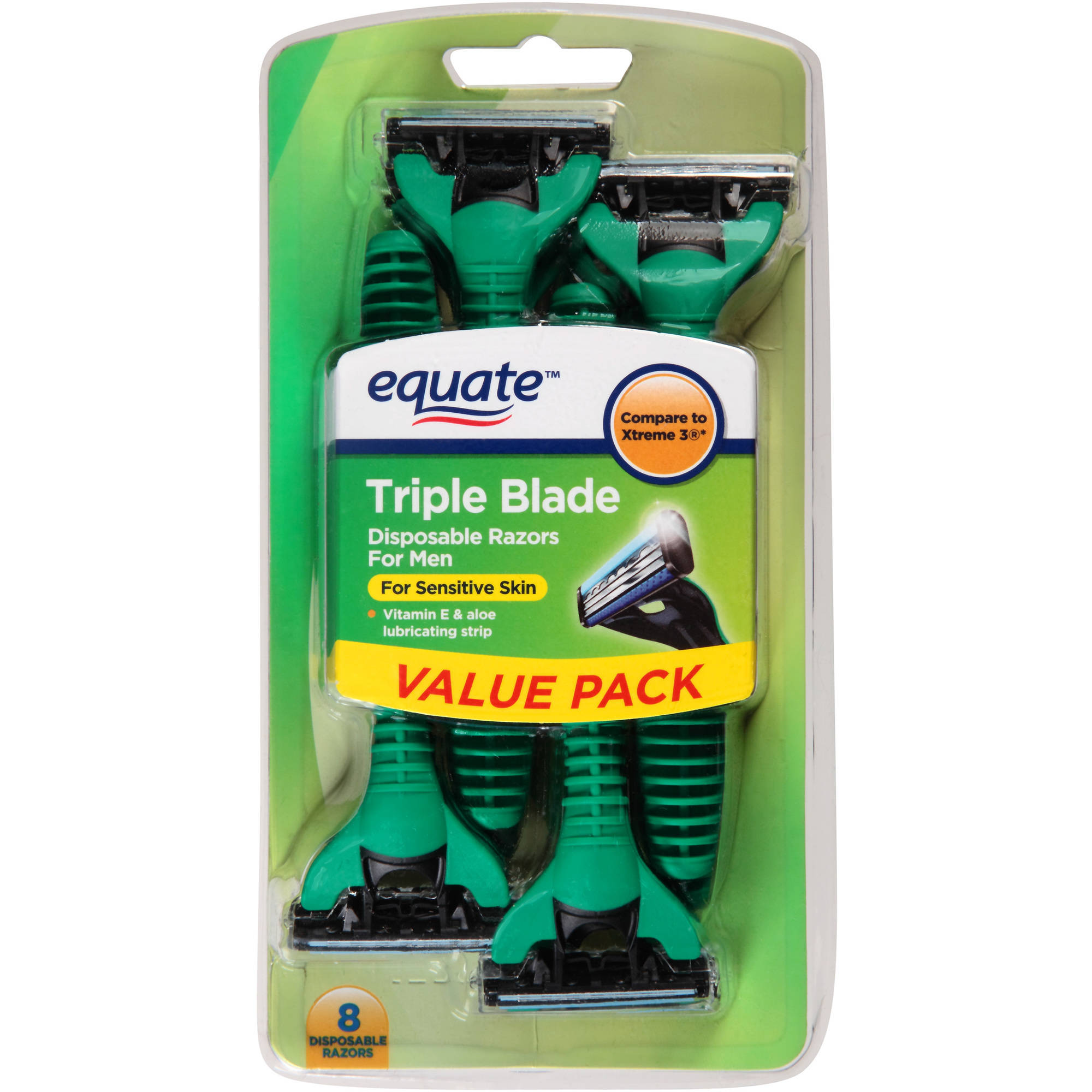 Equate Triple Blade Disposable Razors for Men for Sensitive Skin, 8 count