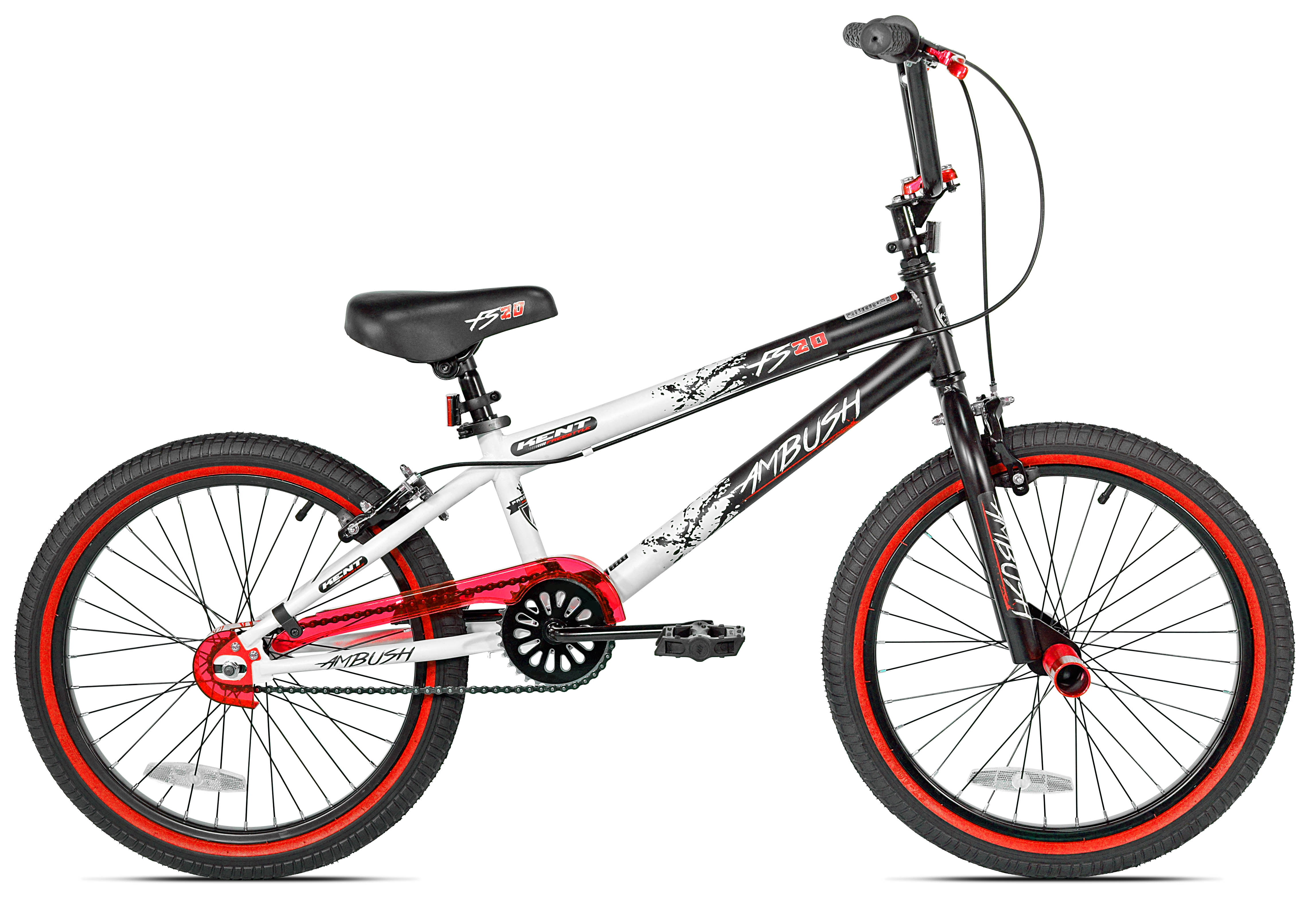 "Kent 20"" Boys', Ambush BMX Bike, Black/Red, For Ages 8-12"
