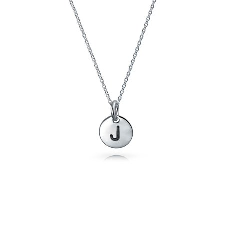 925 Silver Petite Letter J Initial Disc Pendant Necklace 18in