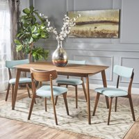 Noble House Lucca Mid Century Modern Wood 5-Piece Dining Set