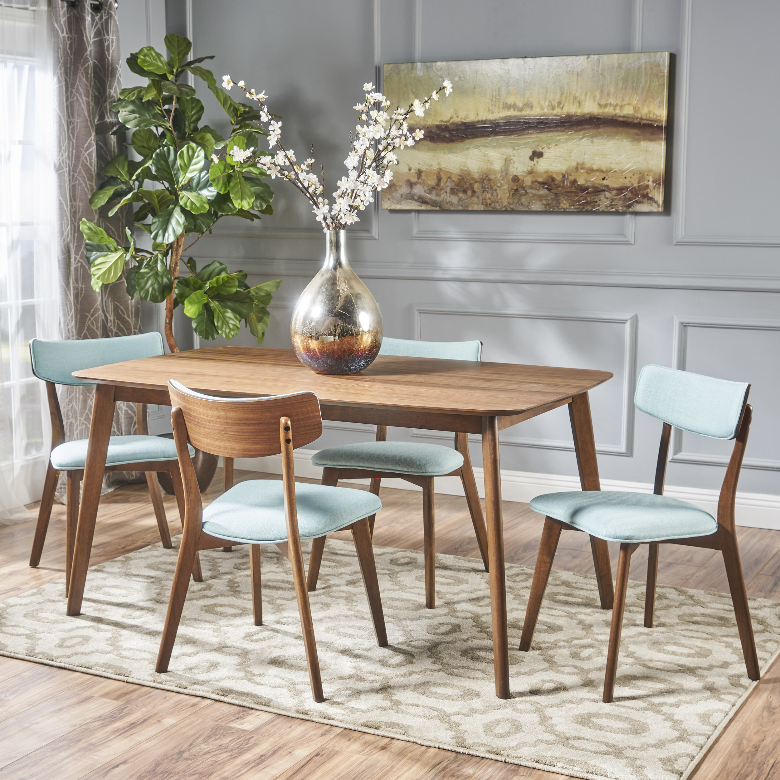 Noble House Lucca Mid Century Natural Walnut Wood Mint 5 Piece Dining Set