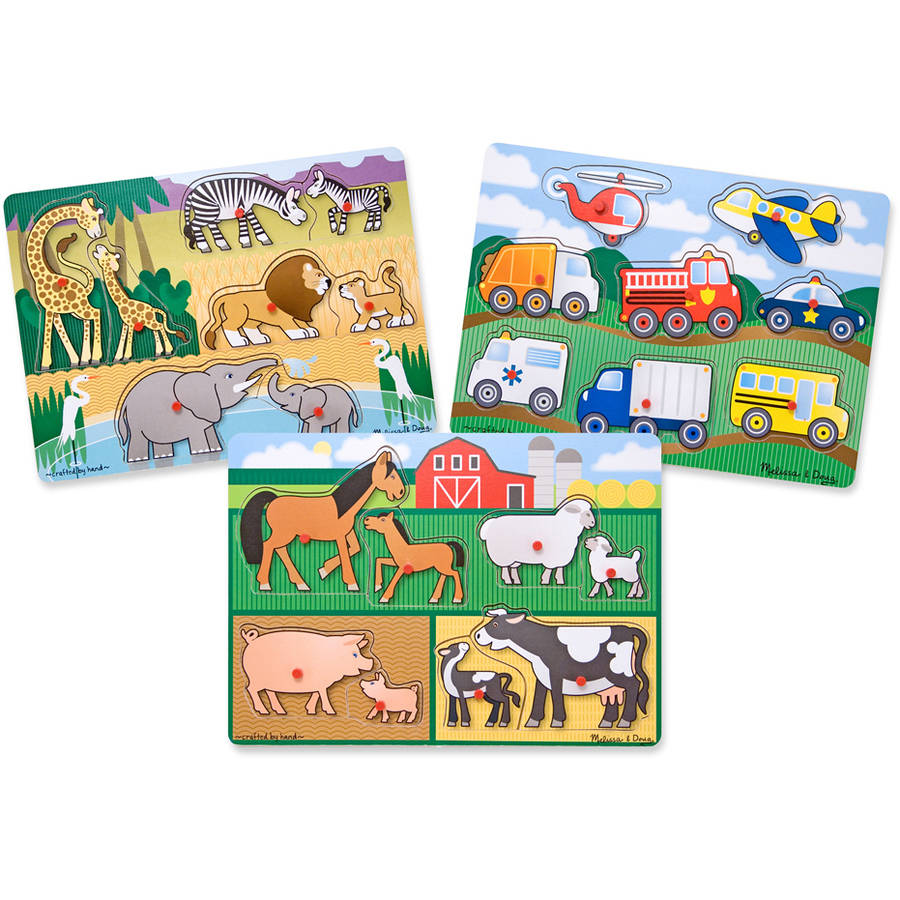 Melissa & Doug Wooden Peg Puzzles Set, Farm, Safari, and Vehicles by Generic
