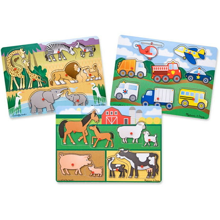 - Melissa & Doug Wooden Peg Puzzles Set, Farm, Safari, and Vehicles