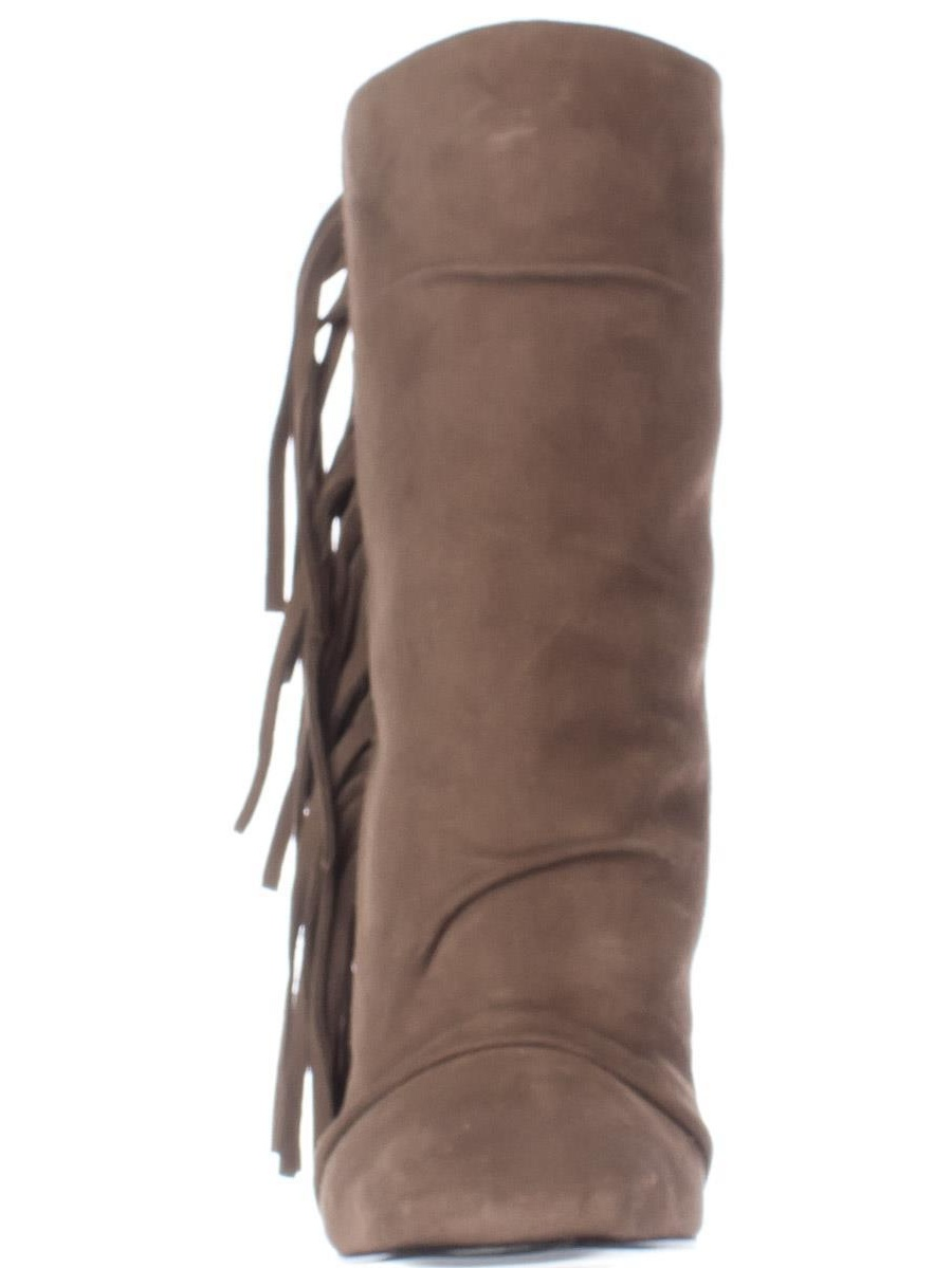Womens Guiseppe Zanotti Alabama Side Fringe Square Boots, Toe Pull On Ankle Boots, Square Lepre, 10 US / 40 EU 81a2c8