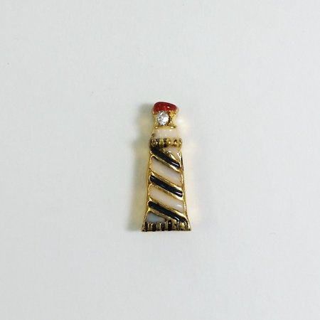 Florida Lighthouse Charm - 1 PC - Lighthouse Nautical Enamel Gold Charm for Floating Locket Jewelry F0080