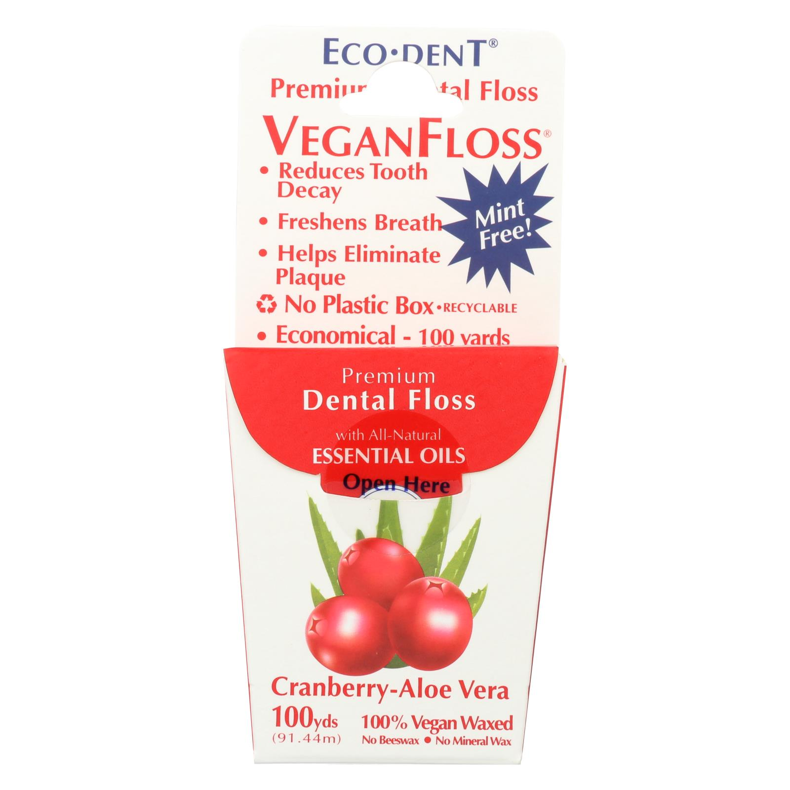 Eco-Dent Floss - Cranberry Aloe Vera - Case of 6 - 100 Yd
