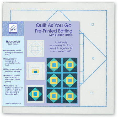 June Tailor Quilt As You Go Printed Quilt Blocks On Batting-Hopscotch Fabric Quilt Top Kit Blocks