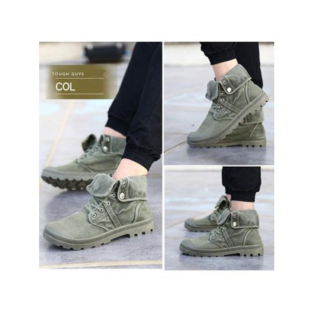Men's High Top Canvas Sneaker Flanging Ankle Mid-Calf Boots Vintage Shoes