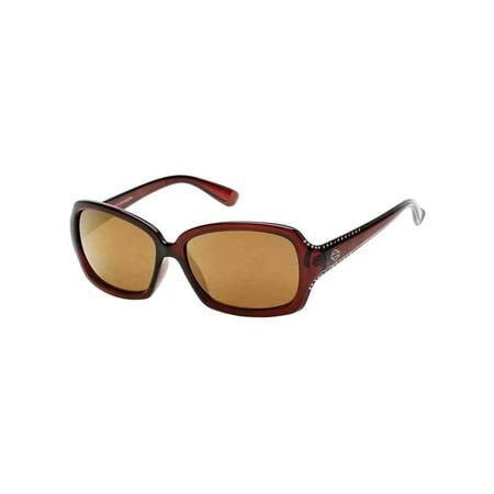 - Women's Crystal Sunglasses, Brown Frames & Brown Mirror Lens, Harley Davidson