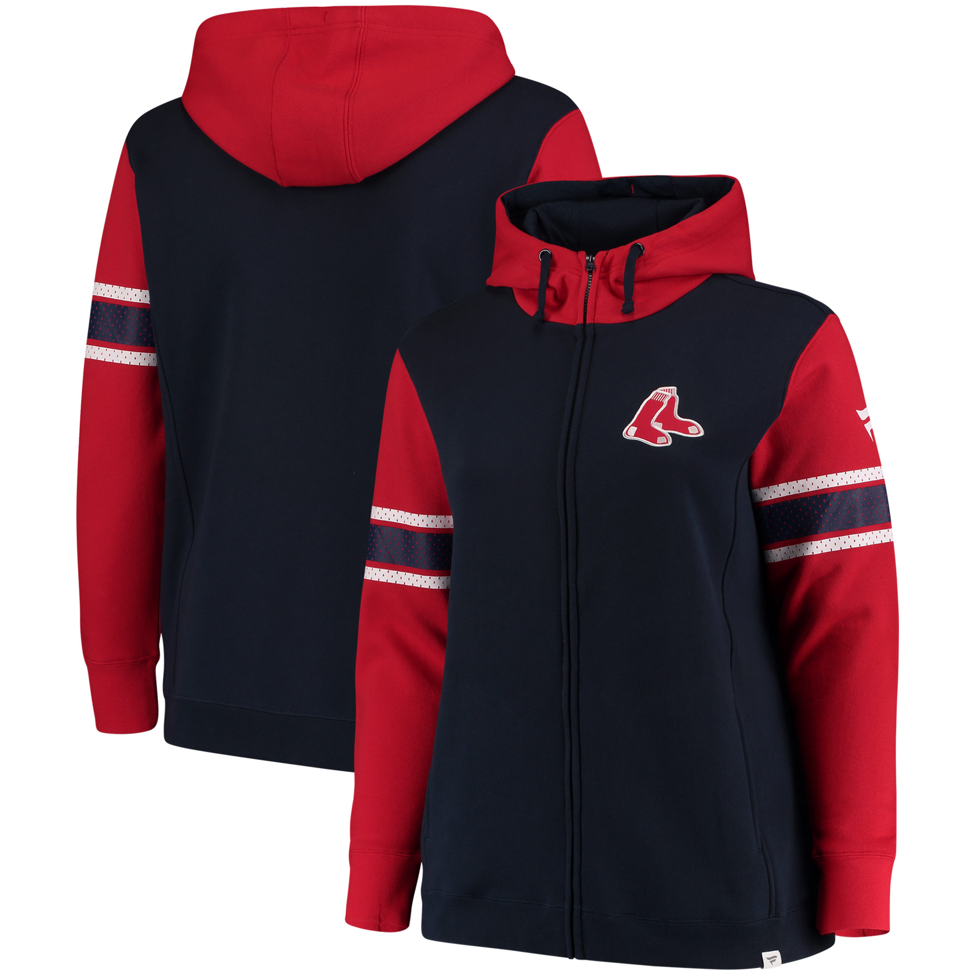 Boston Red Sox Fanatics Branded Women's Plus Size Iconic Fleece Full-Zip Hoodie - Navy
