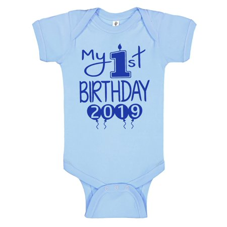 Handmade Screen-Pressed Baby First Birthday Bodysuits - Boys My 1st Birthday Outfit