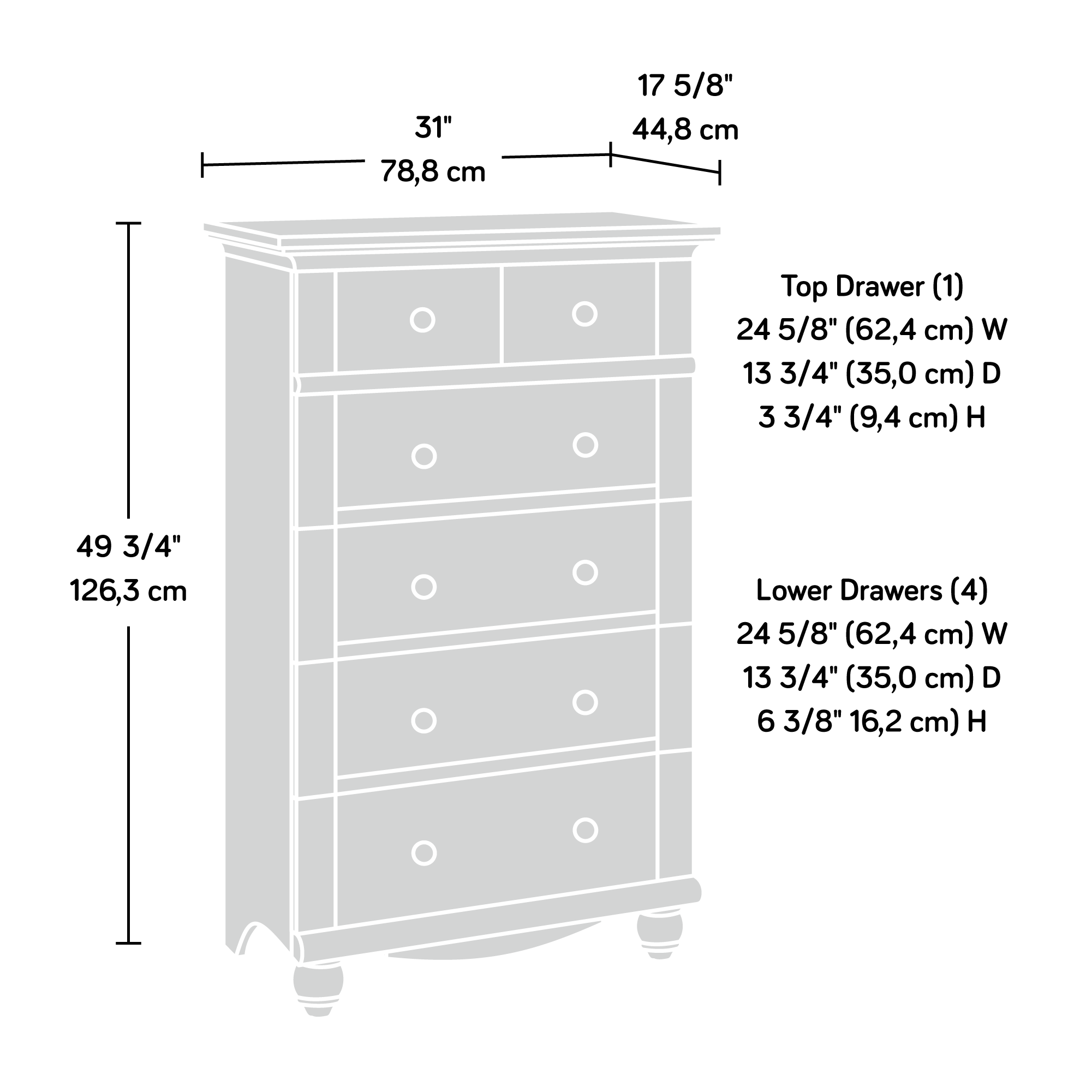 Sauder Harbor View 5-Drawer Dresser, Multiple Finishes