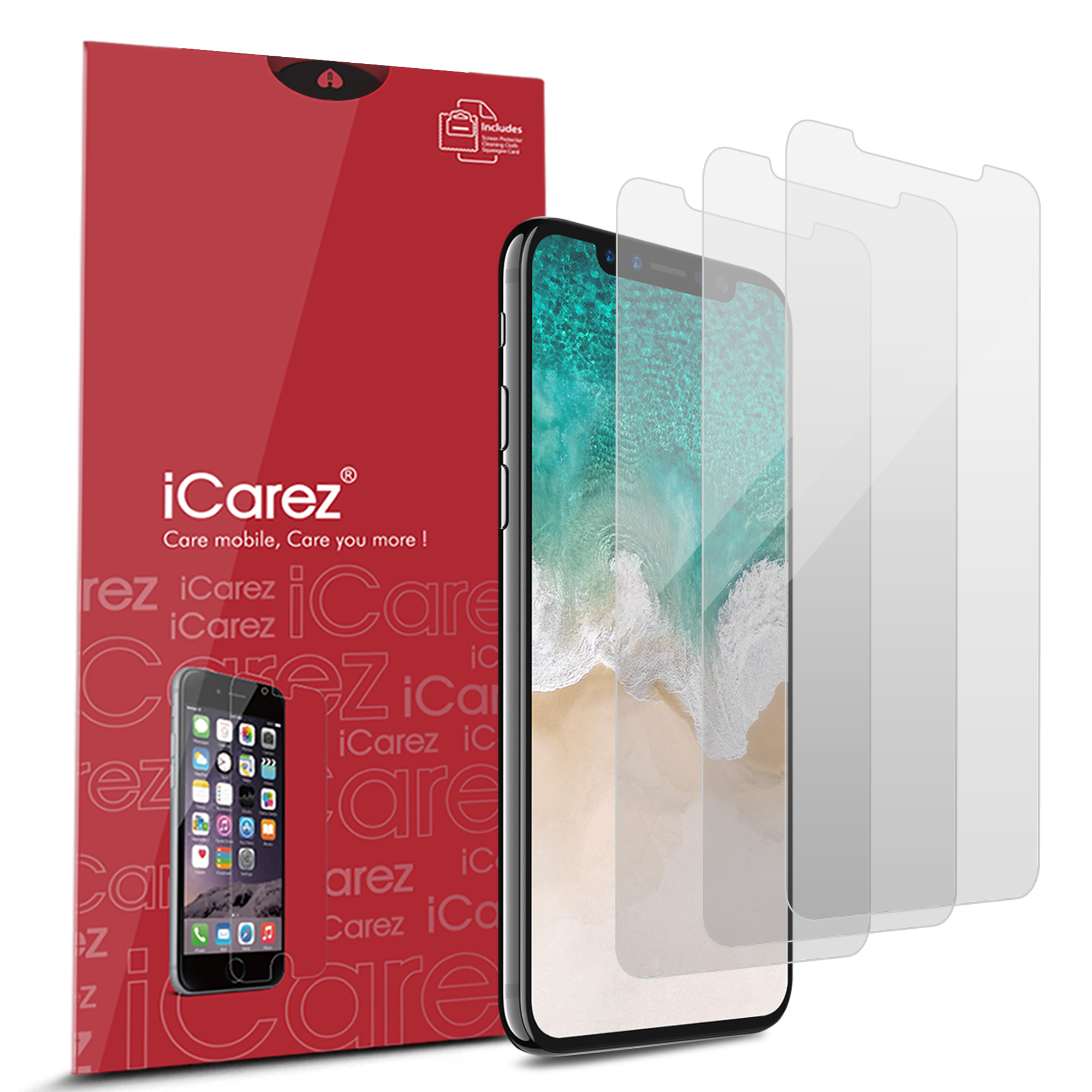 iCarez [HD Anti Glare] Screen Protector for iPhone X [3 Pack] No Bubble Easy Install with Lifetime Replacement Warranty - Retail Packaging