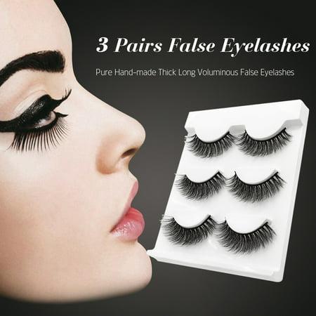 SHIDISHANGPIN 3 Pairs False Eye Lashes Natural Handmade Thick False