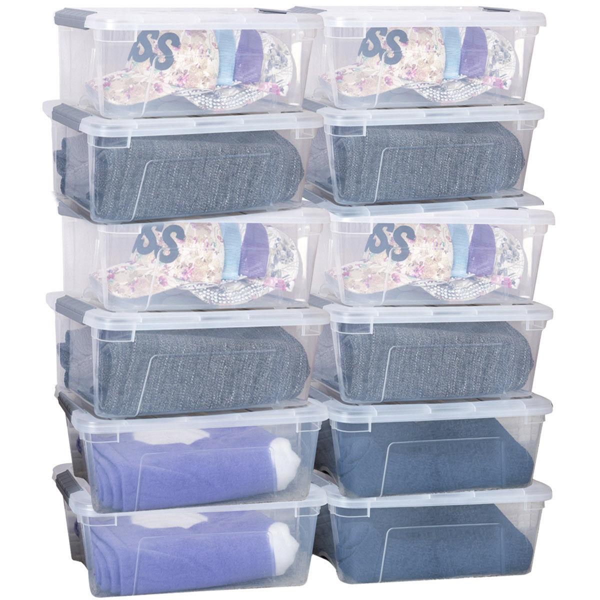 Costway 12 Pack Latch Stack Storage Box Tubs Bins Latches Handles