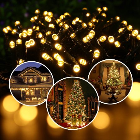 LUCKLED Solar String Lights, 72ft 200 LED Fairy Decorative LED String Lights, Waterproof Outdoor String Lights (Warm - Led Lei