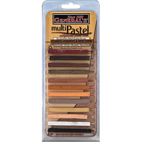 General Pencil Earth and Skin Tones Multi-Pastel Compressed Chalk Sticks