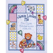 """Jesus Loves Me Sampler Counted Cross Stitch Kit, 11"""" x 14"""", 14-count"""