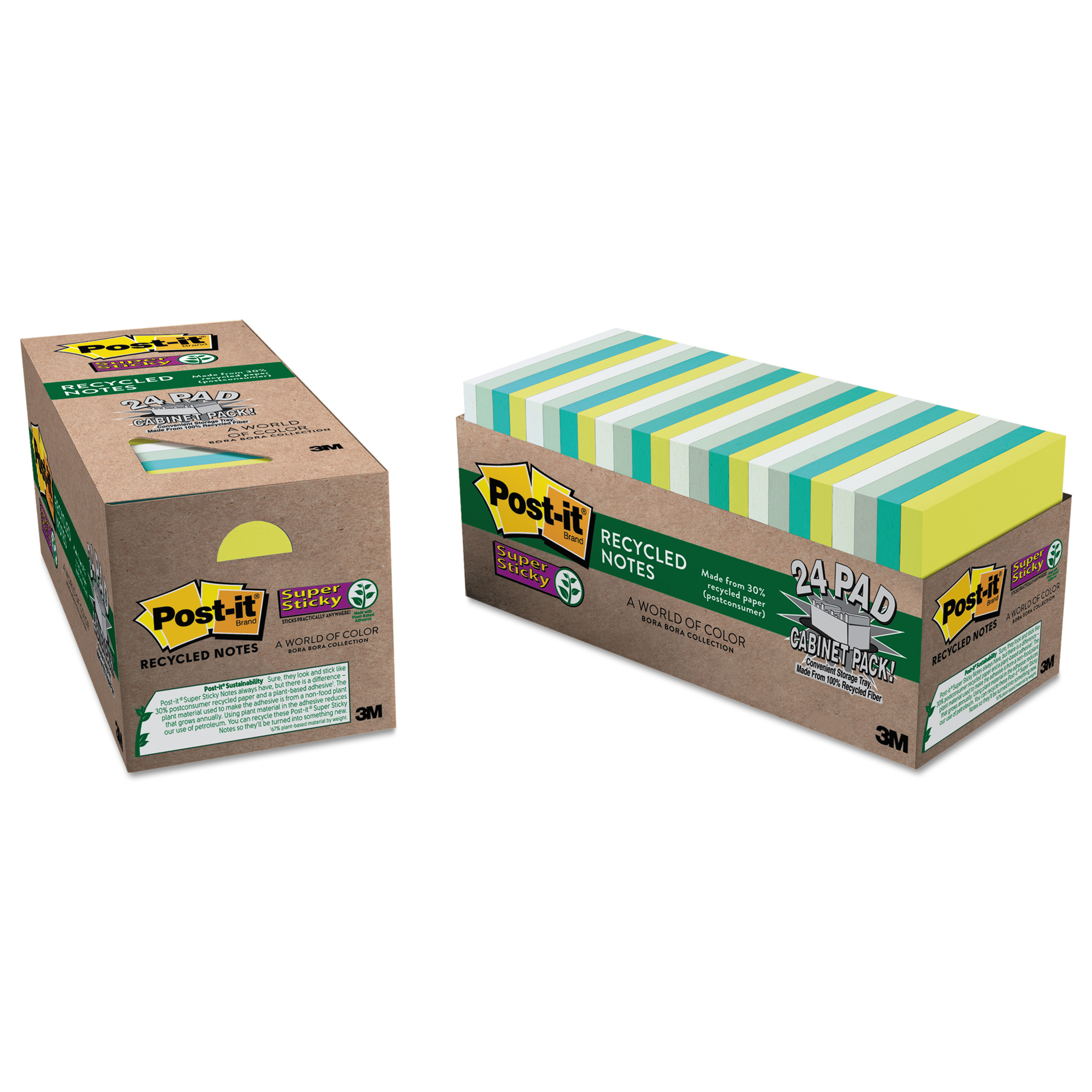 Post-it Super Sticky Bora Bora Notes Cabinet Pk, Assorted, 24 / Pack (Quantity)