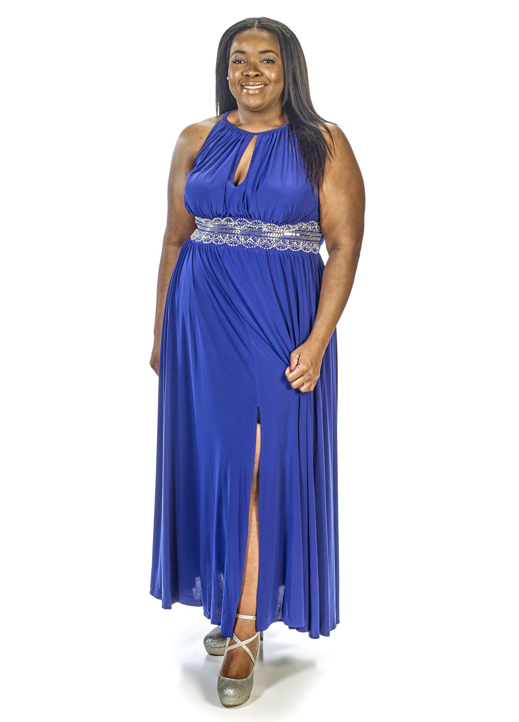 R&M Richards Women\'s Plus Size Beaded Waist Halter Evening Gown ...