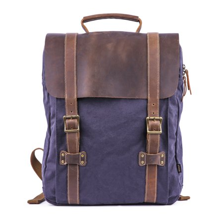 - Gootium Leather Canvas Backpack - Vintage Rucksack 15.6