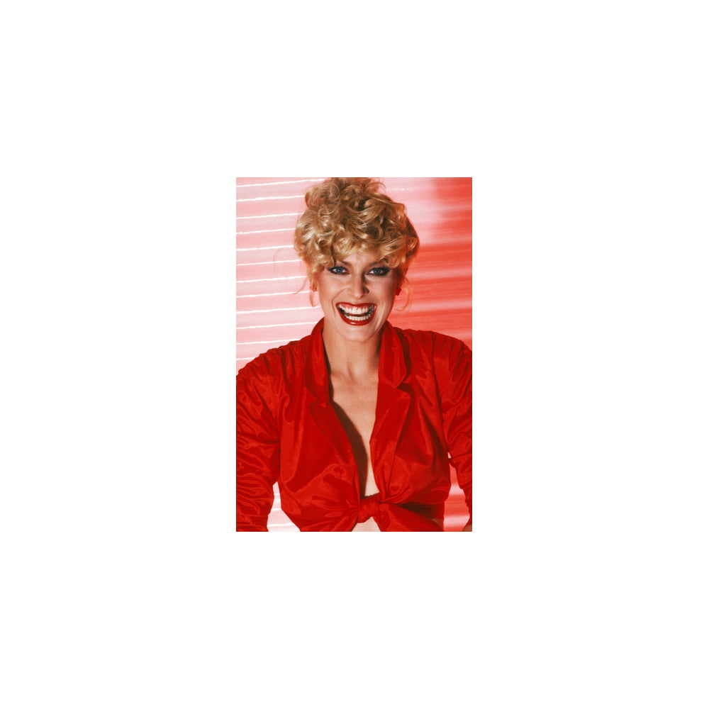 Randi Oakes in open red shirt looking sexy 24x36 Poster