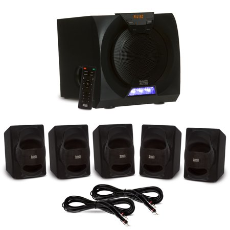 c07e721f9002d4 Acoustic Audio AA5230 Home Theater 5.1 Bluetooth Speaker System with LED  Display and 2 Extension Cables - Walmart.com