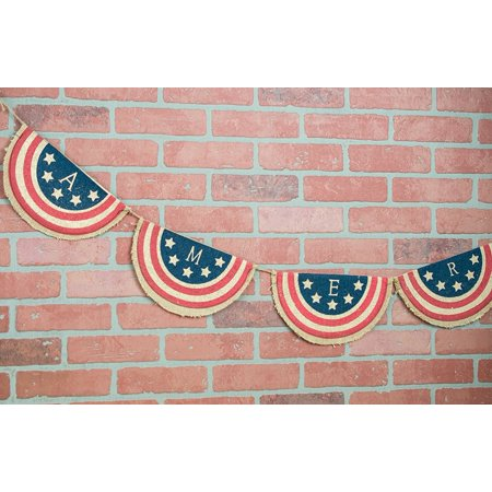 American Banner Burlap Garland 77in Bunting (Red White And Blue Bunting)