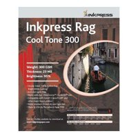 "Inkpress Rag Cool Tone 300 Double Sided, Bright White Matte Inkjet Paper, 23 mil, 300 gsm, 95% Bright, 8.5x11"", 25 Sheets"