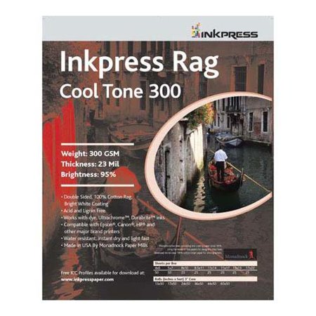 """Inkpress Rag Cool Tone 300 Double Sided, Bright White Matte Inkjet Paper, 23 mil, 300 gsm, 95% Bright, 8.5x11"""", 25 Sheets"""