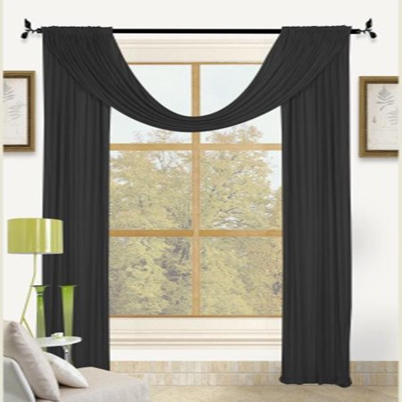 Bella Light Weight Jersey 30x224 Large Window Scarf Valance Black